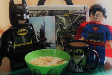 LTR Batman Lego clock, Hulk bowl, Batman mug, Superman Lego clock, b/w Evidence Lootcrate box and DC Comics New 52 Poster Collection