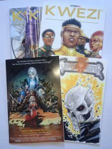 Five comics, including Kwezi 1-9, Pathfinder and Ghostrider