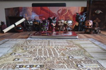 A selection of Funkos in front of a DM screen, along with a map of Waterdeep, a spellbook, and some potion bottles