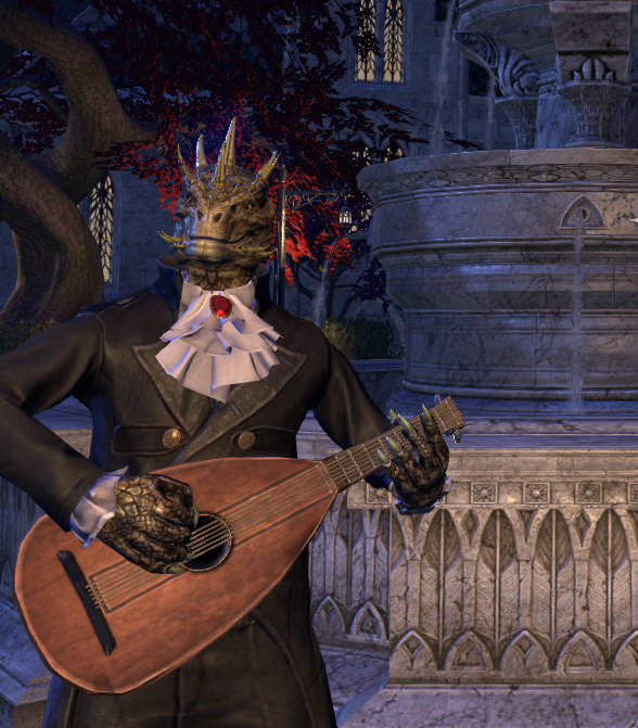 An argonian character created in Elder Scrolls Online, wearing a wedding suit and playing a lute