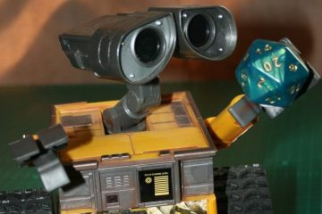 Wall-E holding a d20