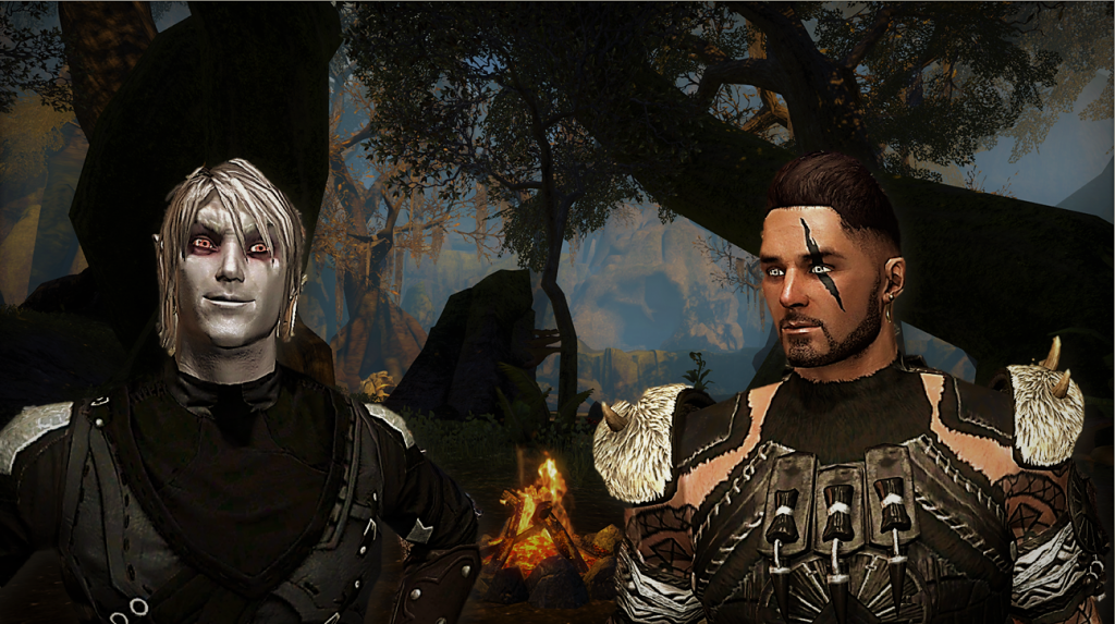 Picture of a dark elf and a human fighter, at a campfire. Screenshot taken from Elder Scrolls Online.