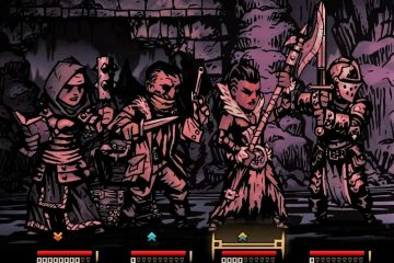 Detail from a Darkest Dungeon screenshot, showing four characters exploring a dungeon
