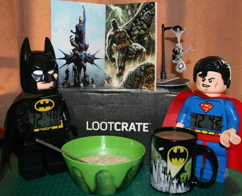 LTR Lego Batman clock, Hulk bowl, Batman Lootcrate mug, Superman Lego clock b/w DC Comics New 52 Poster Collection and Spider-Man Q-Fig